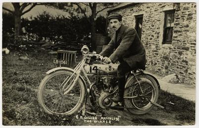 Charlie Collier poses aboard Matchless number 14 (registration…