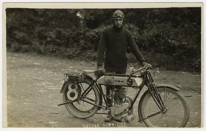 Victor Surridge poses with a Rudge machine, 1911…