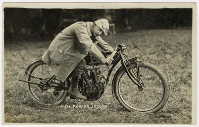 Jake de Rosier poses aboard an Indian machine,…