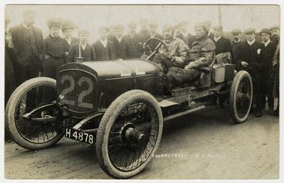 D.S. Hodge in a Thornycroft,1908 Tourist Trophy motorcar…
