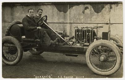 A.E. George in a Darracq, 1908 Tourist Trophy…
