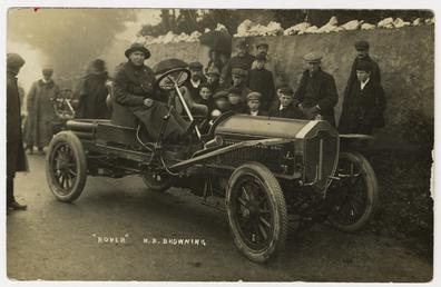 H.B. Browning in a Rover, 1908 Tourist Trophy…