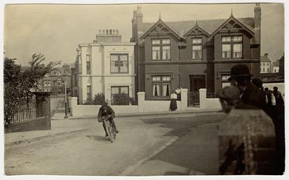 Rider on Albany Road, Peel, captioned 'Collier the…
