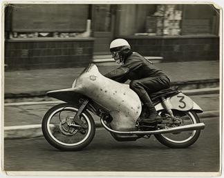 Werner Haas riding NSU number 3, 1954 125…
