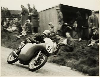 Dave Chadwick aboard Norton (number 31), 1958 Senior…