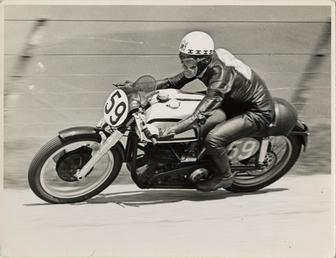 Ray Amm, TT (Tourist Trophy) rider, riding a…