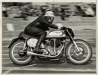 Robin Sherry, TT (Tourist Trophy) rider riding Norton…