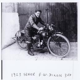 F.W. Dixon aboard Indian number 46, 1923 Senior…