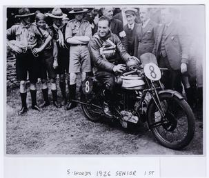 Stanley Woods aboard machine no 8, Norton, after…