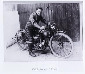 Freddie Dixon aboard Indian machine, number 46, 1923…