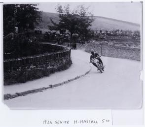 H. Hassall at Braddan Bridge, 1924 Senior TT…