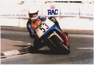 John Crellin rounding Quarterbridge, aboard machine number 53,…
