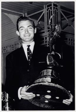 Hugh Anderson holding TT (Tourist Trophy)  trophy, 1963