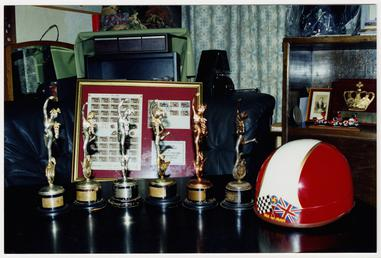 Display of items and Tourist Trophy replicas belonging…