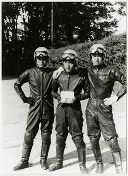 Honda riders posing with finishers' medals, 1959 TT…