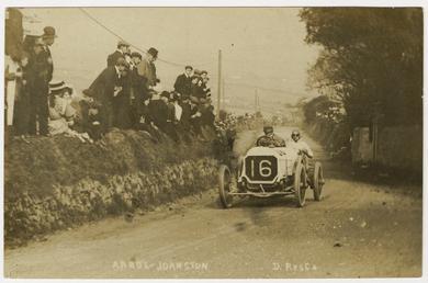 D. Resta in an Arrol-Johnston, 1908 Tourist Trophy…