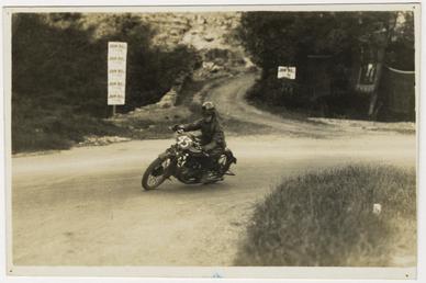 Rider number 43 rounding Ramsey Hairpin with John…