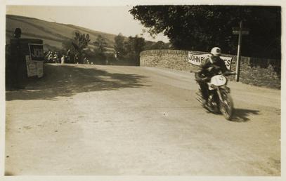 Twemlow coming over Ballaugh Bridge, 1928 (?) TT…