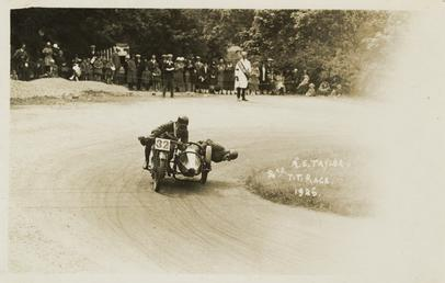 A.E. Taylor aboard sidecar outfit (number 32), 1925…