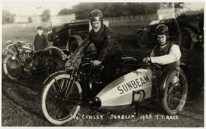 'Pa' Cowley aboard Sunbeam sidecar outfit number 36,…