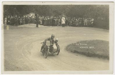 F.W. Dixon aboard sidecar outfit number 55, 1923…