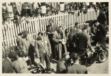 AJS team at weigh in, 1954 TT (Tourist…