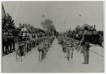 Machines lined up ahead of the start of…