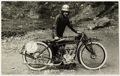F.W. Dixon, TT (Tourist Trophy) rider, poses with…