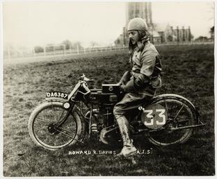 Howard Davies, TT (Tourist Trophy) rider, aboard A.J.S.…