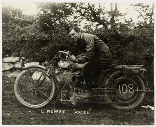 L.Newey, TT (Tourist Trophy) rider aboard Ariel number…