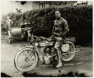 V.Horsman, TT (Tourist Trophy) rider aboard Norton number…
