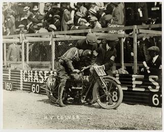 H.V.Colver, TT (Tourist Trophy) rider aboard machine number…
