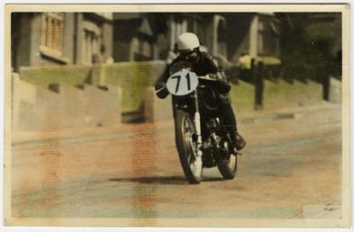 Les Graham aboard machine number 71, 1950 Junior…