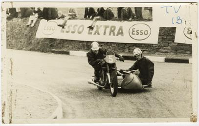 R.E. Douglas and V.H. Hope on Norton sidecar…