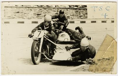 E.T.Young and E.Milton on Triumph sidecar outfit (number…