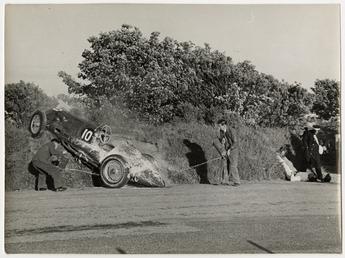 Motorcar no.10 Peter Walker in an E.R.A., crashed…