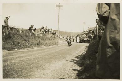 Motorcycle passing Creg ny Baa during 1934 TT…