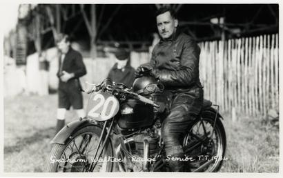 Graham Walker poses aboard Rudge machine number 20,…