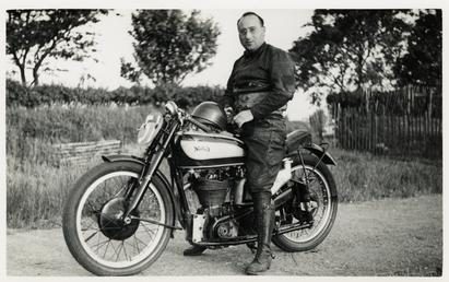 Harold Daniell poses aboard Norton number 51, 1939…
