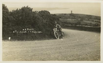 H.R.Davis aboard machine number 59, 1921 Junior TT…