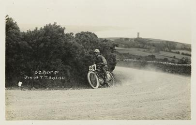D.G.Prentice aboard machine number 24, 1921 Junior TT…
