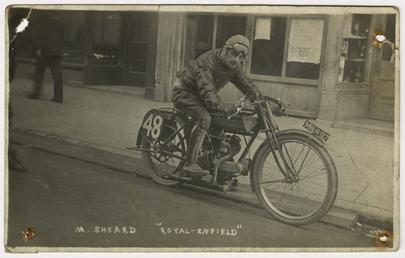 T.M. Sheard, TT (Tourist Trophy) rider poses aboard…