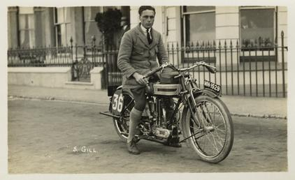 S. Gill posing with Triumph machine number 36…