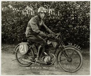 George Denley, TT (Tourist Trophy) rider aboard Velocette…