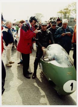 Bill Lomas astride the 1957 Moto Guzzi V8…