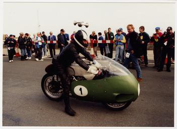 Bill Lomas preparing to start the 1996 TT…