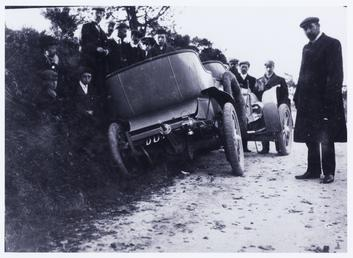 Motorcar off the road, 1906 Tourist Trophy motorcar…
