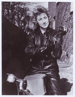 Beryl Swain, TT (Tourist Trophy) rider, posing in…