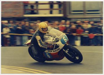 Joey Dunlop at Parliament Square, Ramsey, riding Rea…