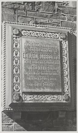 Tablet marking site of birthplace of Edward Forbes,…